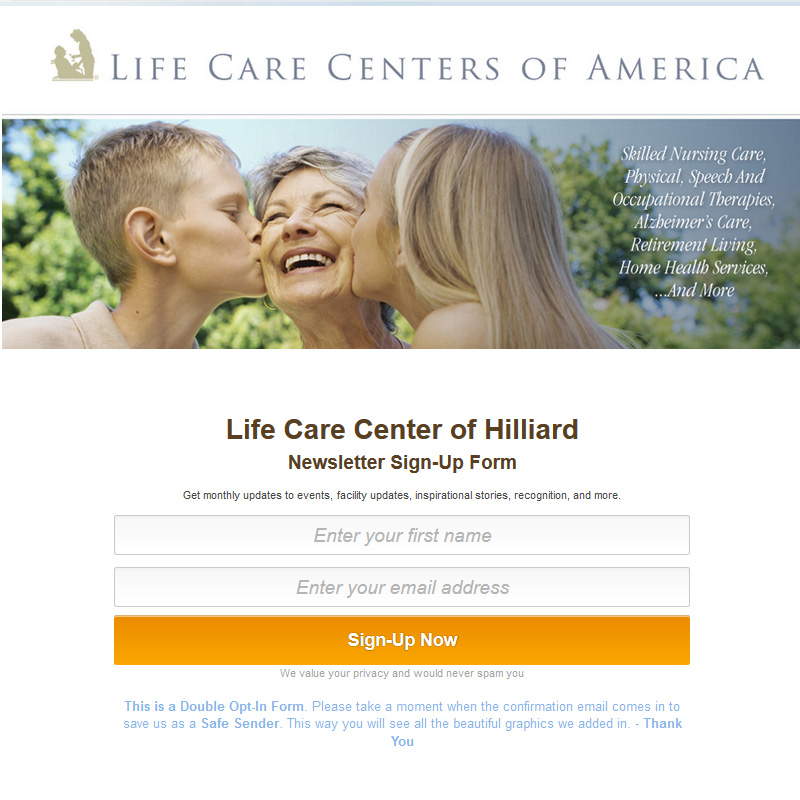 Lifiecare Hiliiard Sign-up Form